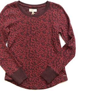Lucky Brand Cheetah Print Pullover Sweater